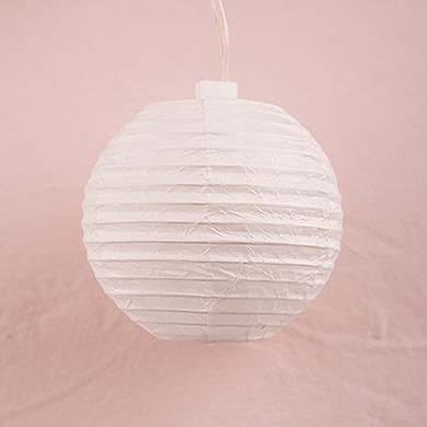 String of Lights with Round White Paper Lanterns - Battery LED - The Knot Shop