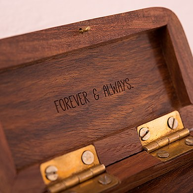 natural charm personalized pocket size wooden wedding ring box garland surrounding - Wooden Wedding Ring