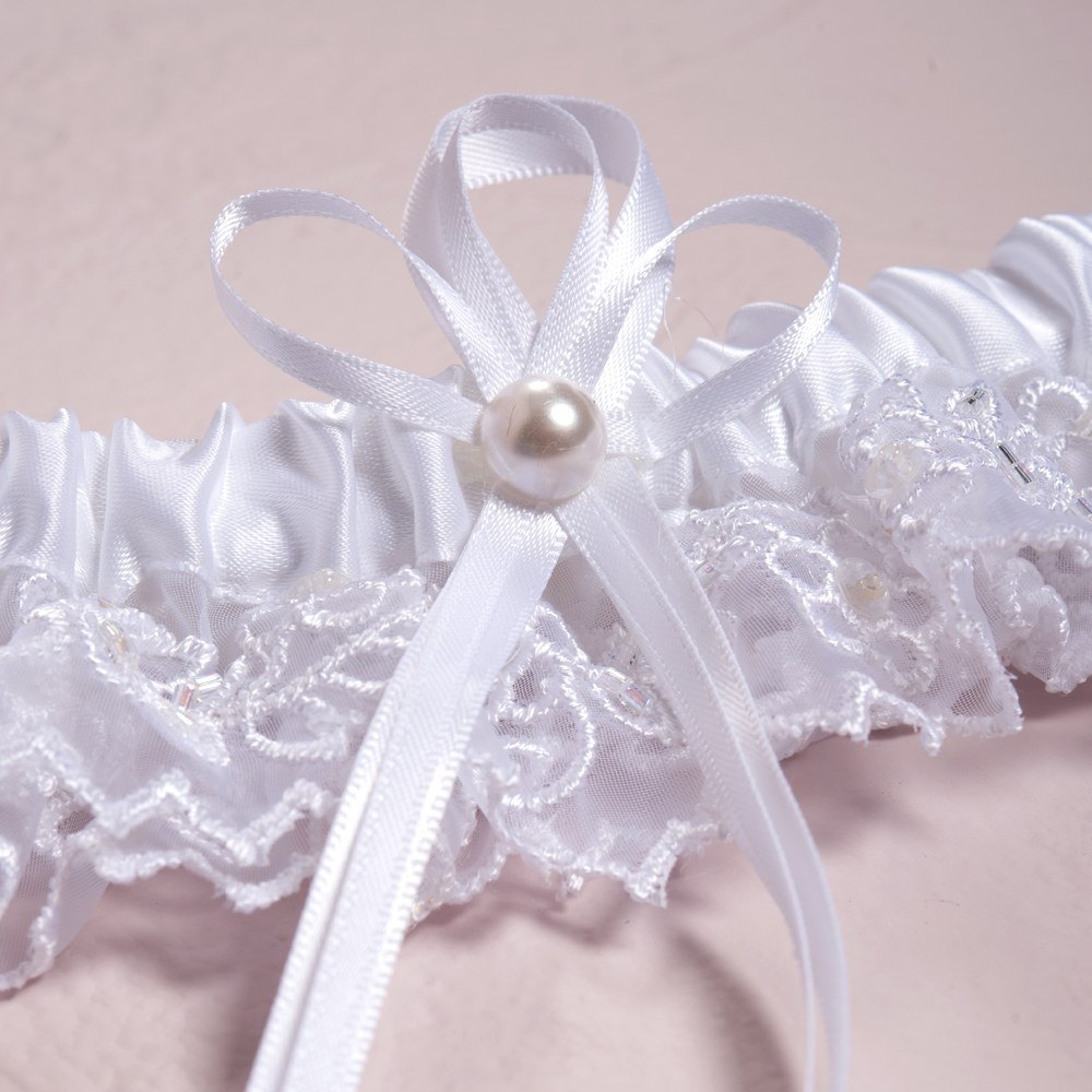 Why Two Garters For Wedding: Classic White Embroidered Wedding Garter Set