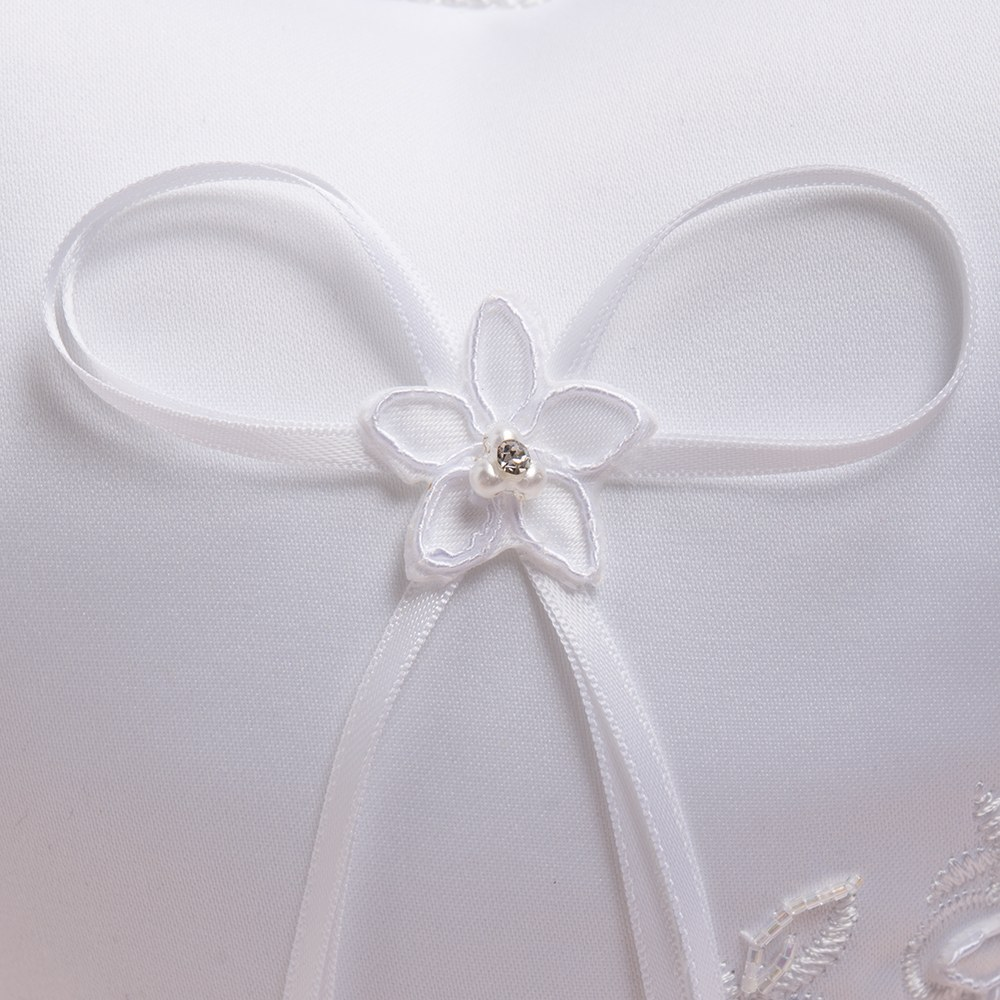 Floral Fantasy Heart Shaped Wedding Ceremony Ring Pillow