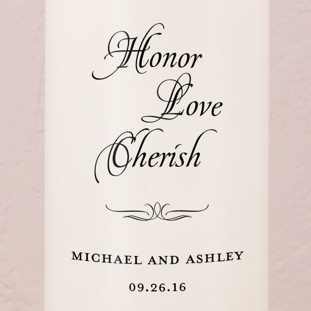 Honor Love Cherish Personalized Unity Candle