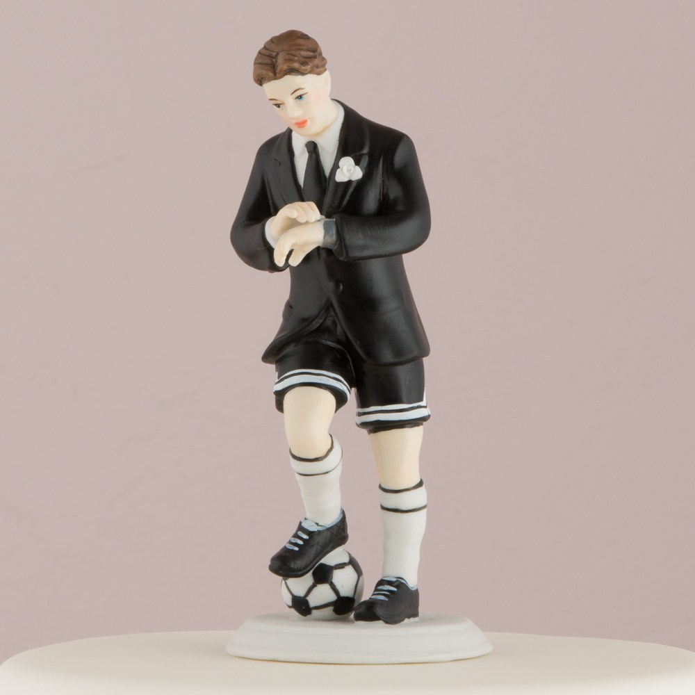 Soccer Player Groom Mix and Match Wedding Cake Topper