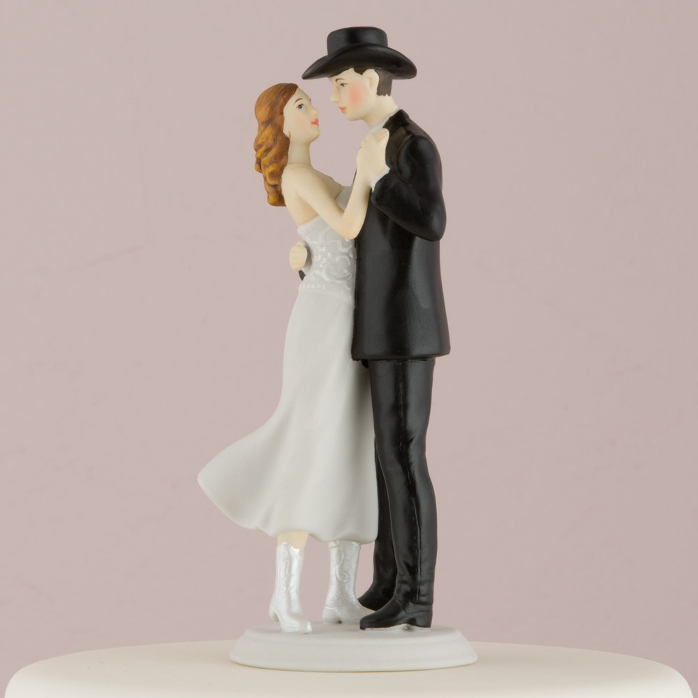 A Sweet Western Embrace Wedding Cake Topper