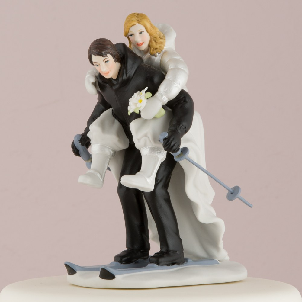 Winter Skiing Couple Figurine Wedding Cake Topper