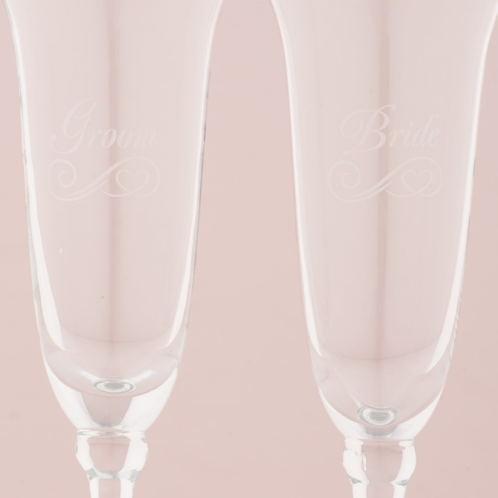 Refined Etched Wedding Flutes