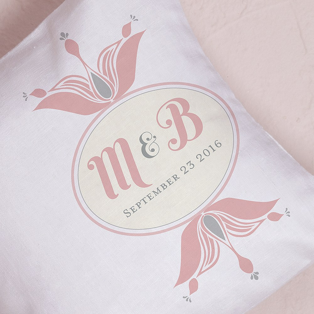 Notable Personalized Ring Pillow with Double Floral Monogram