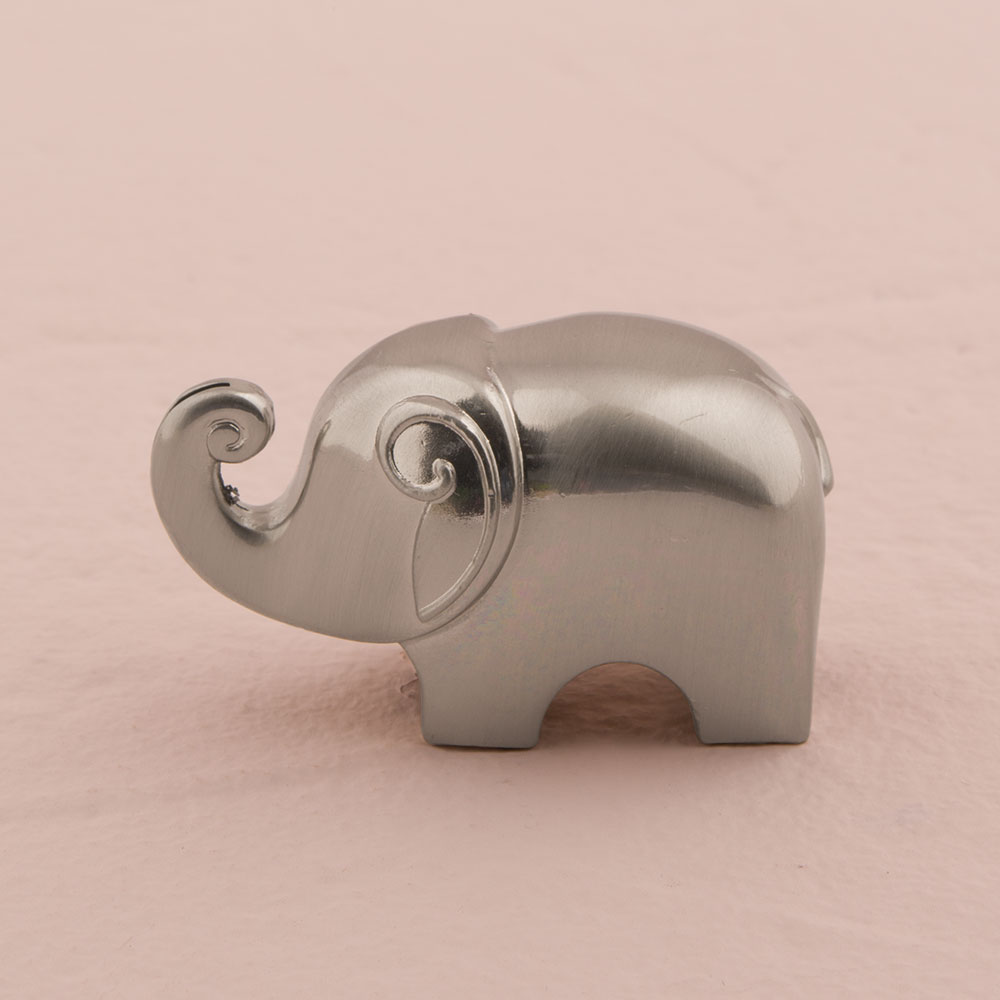 Lucky Elephant Wedding Place Card Holders with Brushed Silver Finish