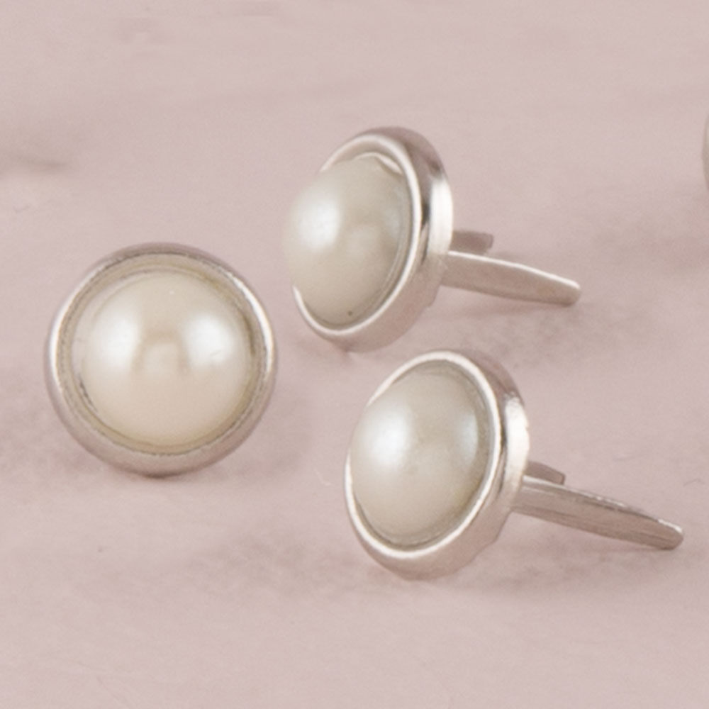 White Pearl Brad with Nickel Plating Finish