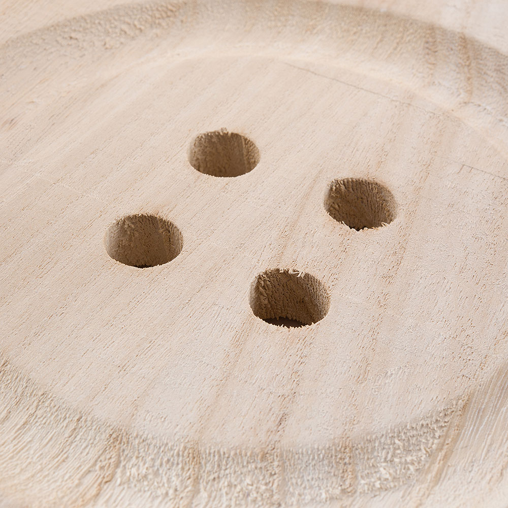 Charming Wooden Button Decoratoin with Natural Finish - Medium