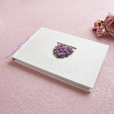 Traditional Wedding Guest Book in Ivory with Real Rosebud Heart  Ivory