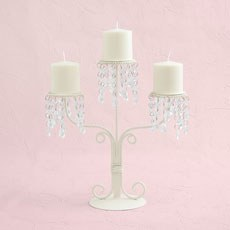 Cream & Crystal 3 Stem Candelabra