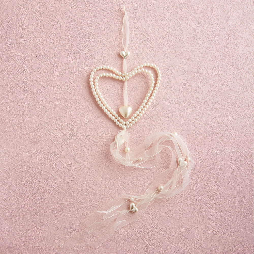 Large Ivory Double Heart Hanger