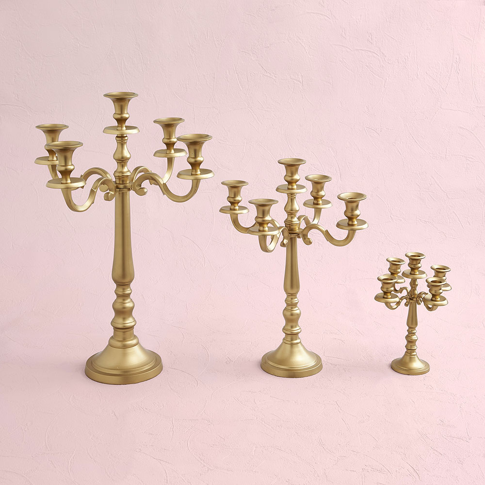 Gold 5 Arm Small Wedding Candelabra