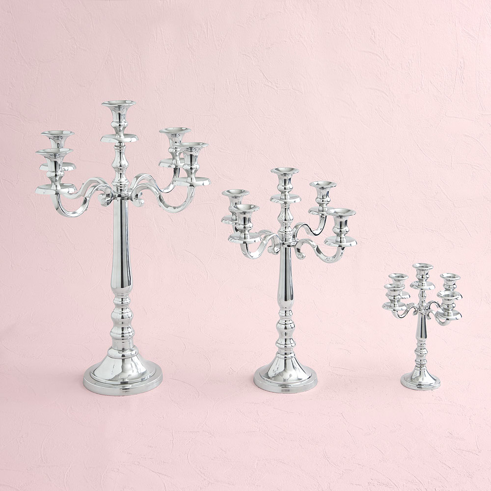 Silver 5 Arm Small Wedding Candelabra