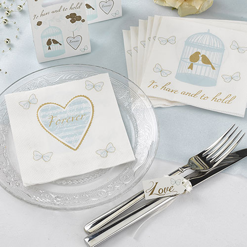 Charming Duck Egg Blue and Gold Cocktail Napkins