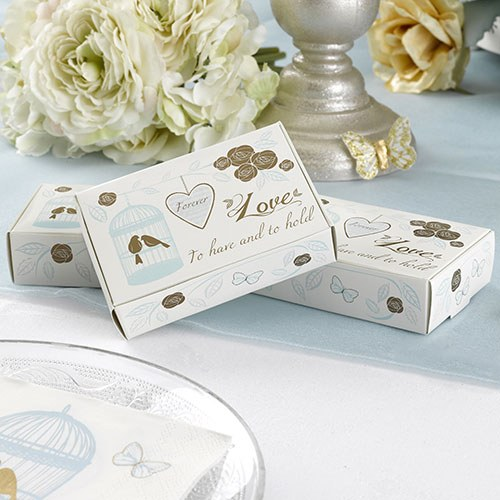 Lovebirds and Hearts Ivory Wedding Cake Boxes
