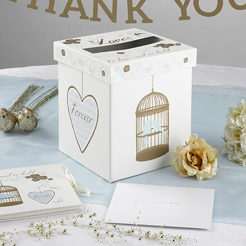 Ivory  Gold and Duck Egg Blue Large Post Box