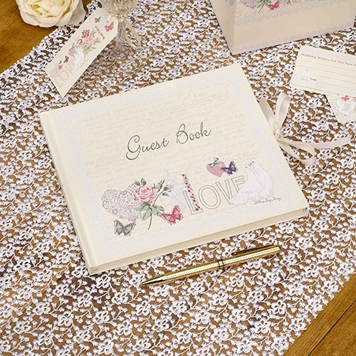 Hearts and Flowers Traditional Guest Book