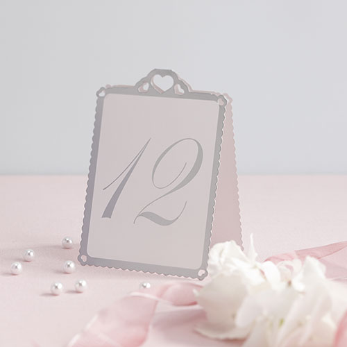 White & Silver Heart Table Numbers