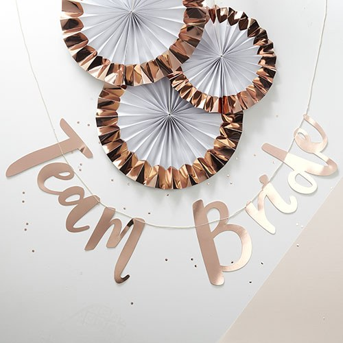Team Bride Hen Party Rose Gold Bunting