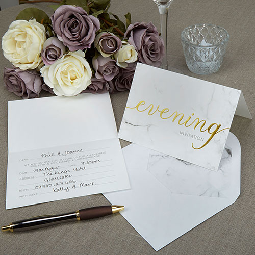Scripted Marble Evening Invitation Cards - 10 Pack