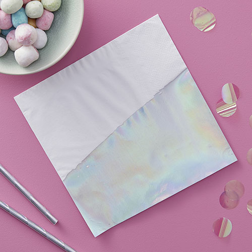 Iridescent Dipped Paper Napkins - 16 Pack