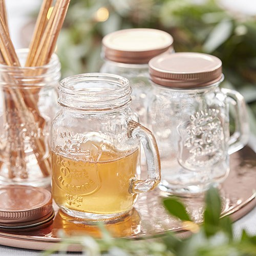 Mini Mason Jars Rose Gold Lid - 4 Pack