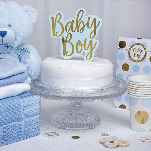 Blue & Gold Foil Baby Boy Cake Topper