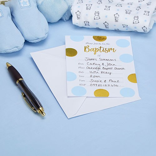 Baptism Invitations Blue & Gold Circles