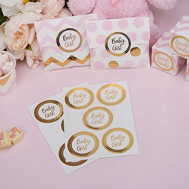 Baby Girl Stickers Gold Foil