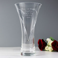 Personalized Heart Vase with Swarovski Elements