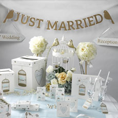Gold Letters and Lovebirds Just Married Bunting