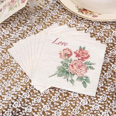 """With Love"" Range Red Rose Design Cocktail Napkins"