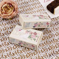 """""""With Love"""" White Doves and Pink Flowers Wedding Cake Boxes"""