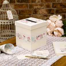 """With Love"" Timeless White Doves and Hearts Design Wedding Wishes Box"
