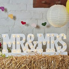 Mr & Mrs Wedding Table Sign with Wooden Illuminated Letters in White