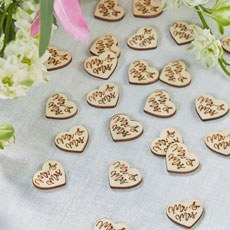 Mr & Mrs Shaped Natural Wood Table Confetti Trims