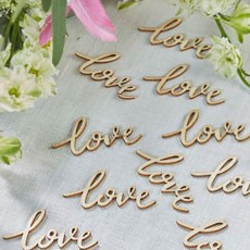 """Love"" Words Boho Inspired Wooden Wedding Table Confetti Trims"