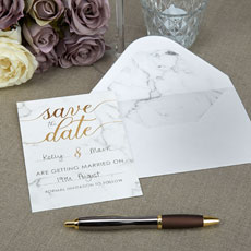 Scripted Marble Save The Date Cards - 10 Pack