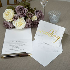 Scripted Marble Wedding Invitation Cards - 10 Pack
