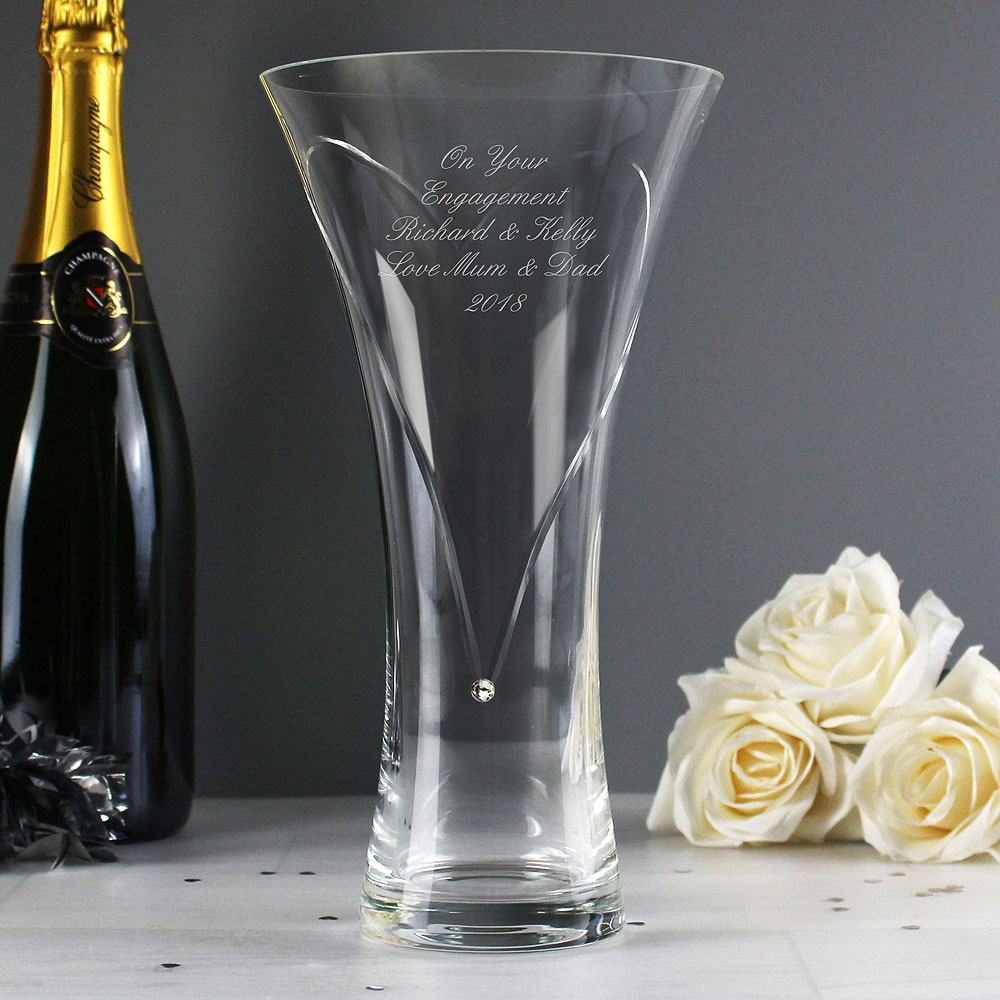 Diamante Heart Vase Personalized