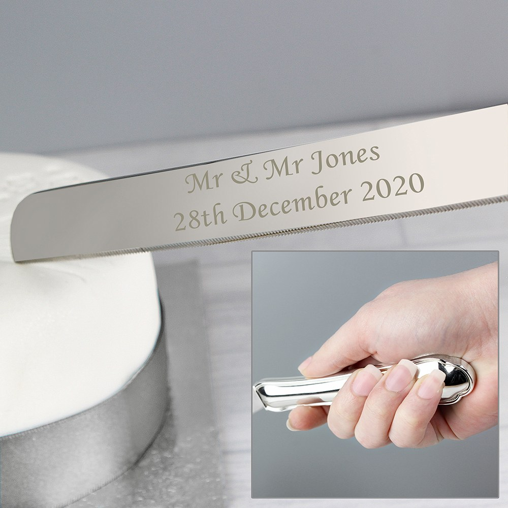 Personalized Silver Plated Cake Knife