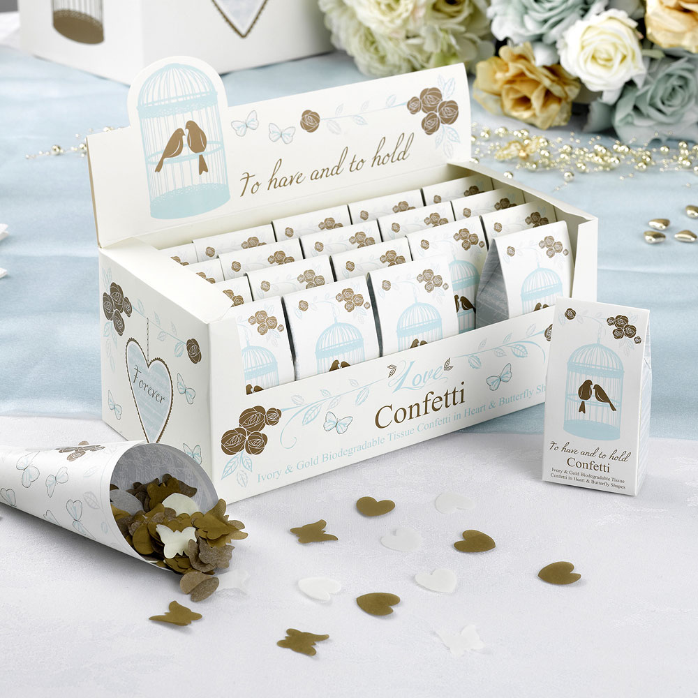 Biodegradable Ivory and Gold Throwing Confetti