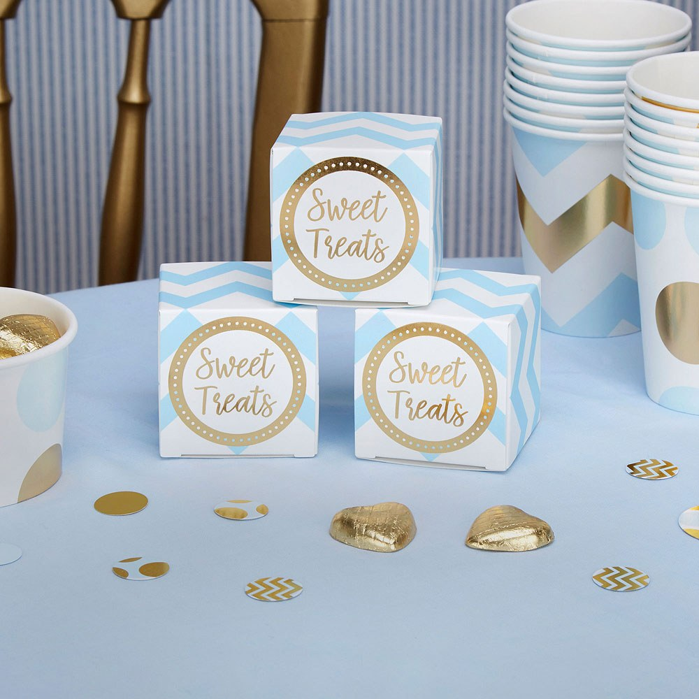 Blue Chevron Favor Boxes - 10 Pack