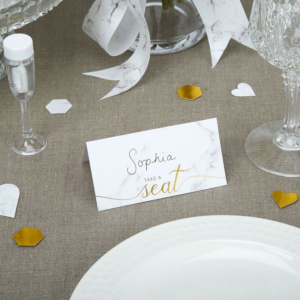 Scripted Marble Place Cards - 25 Pack
