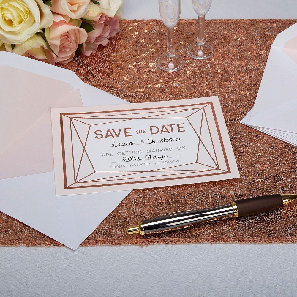 Geo Blush Save The Date Cards - 10 Pack