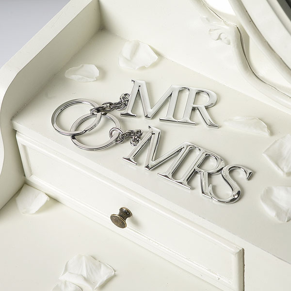 Amore Mr & Mrs Silverplated Keyring Set