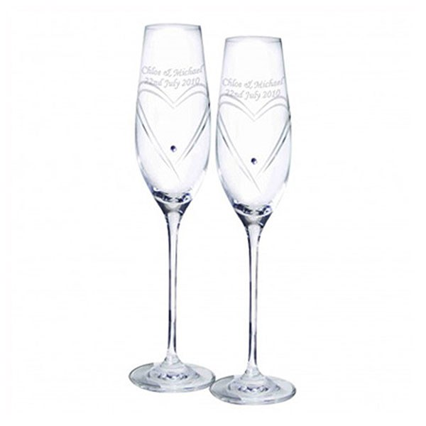 Personalized Swarovski Elements Heart Flutes