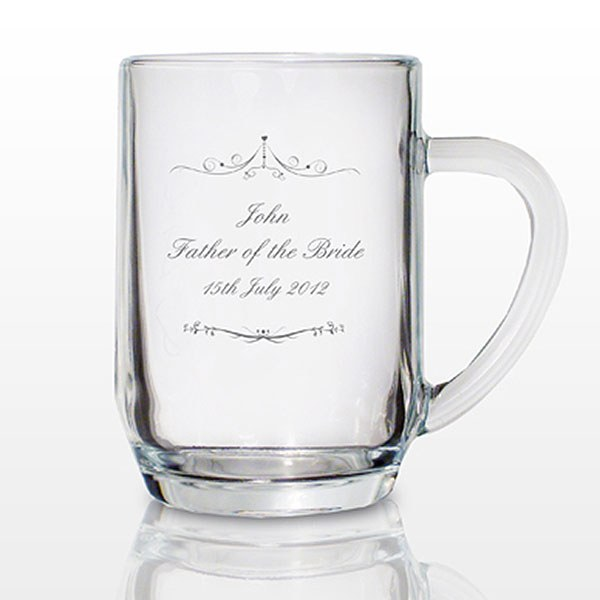 Ornate Swirl Tankard Glass Personalized