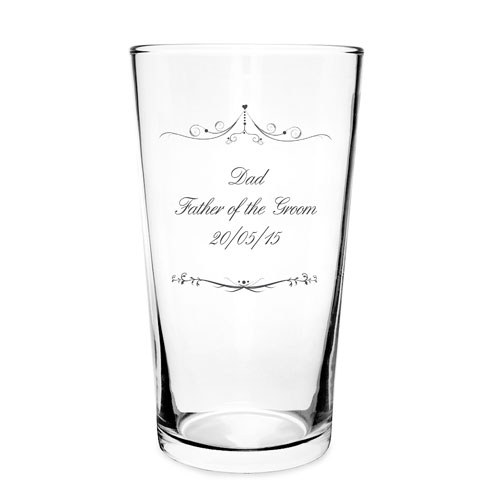 Ornate Swirl Pilsner Glass Personalized